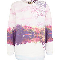 Girls pink woodland scene print sweatshirt
