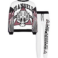 Girls white LA lion sweat and joggers set