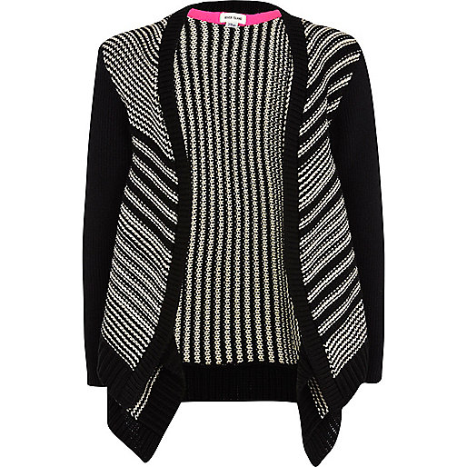 Girls black stripe fallaway cardigan