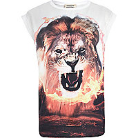 Girls cream lion flame hybrid t-shirt