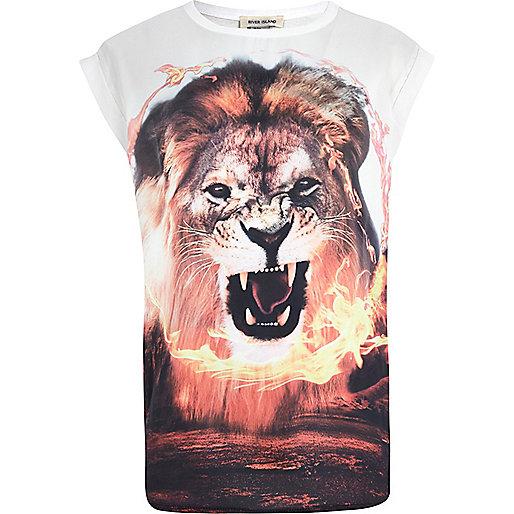 Girls cream lion flame hybrid t-shirt