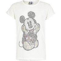 Girls cream diamante Mickey Mouse t-shirt