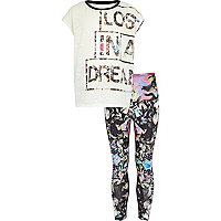 Girls white lost t-shirt and legging set