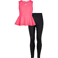 Girls pink peplum top and leggings set