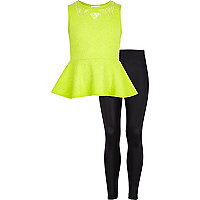Girls green peplum top and leggings set