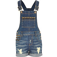 Girls embellished trim short denim dungarees