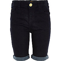 Girls dark blue long knee jean shorts
