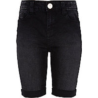 Girls black long jean shorts