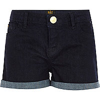 Girls dark blue denim raw wash jean shorts
