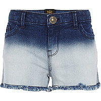 Girls medium wash dip dye jean shorts