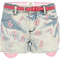 Girls bleach acid wash embroidered jean short