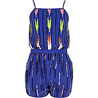 Girls blue sequin playsuit