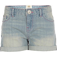 Girls light denim wash shorts
