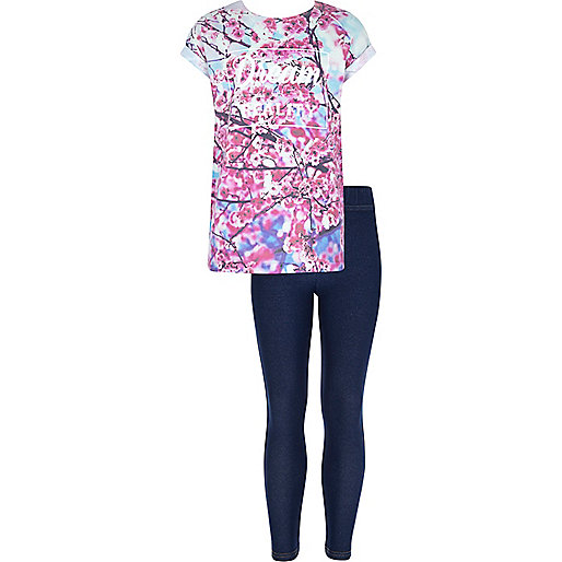 Girls pink floral print t-shirt and leggings