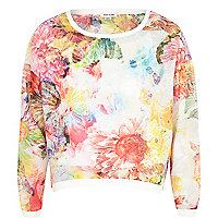 Girls pink abstract flower print sweatshirt