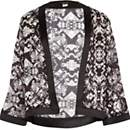 Girls black and white printed kimono