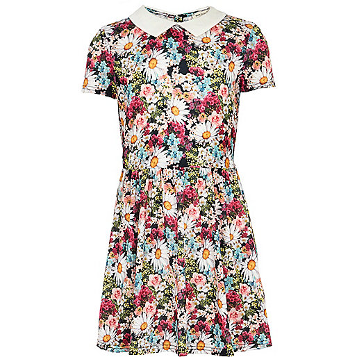 Girls pink ditsy floral print dress