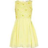 Girls yellow beaded prom dress