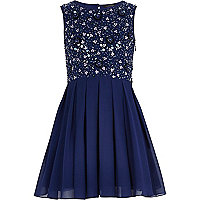 Girls blue beaded prom dress