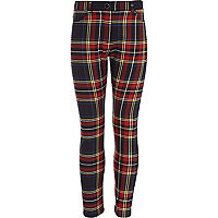 Girls red tartan trousers