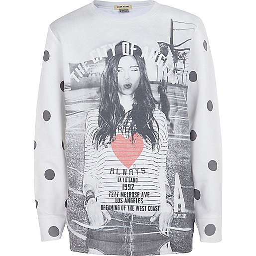 Girls black city of angels print sweatshirt