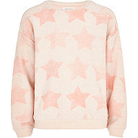 Girls orange all over star reverse sweatshirt