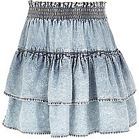 Girls light denim rara skirt