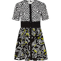 Girls black aztec print woven smock dress