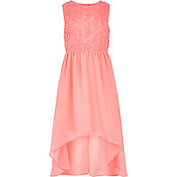 Girls pink embroidered chiffon dress