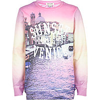 Girls pink venice city scape print sweatshirt