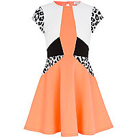 Girls coral colour block skater dress