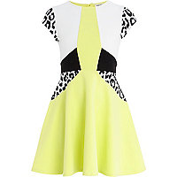Girls lime colour block skater dress