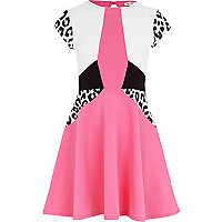 Girls pink colour block skater dress