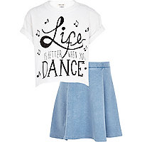 Girls white life is better with dance set