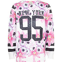 Girls white new york 55 floral sweatshirt