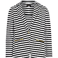 Girls black stripe mix textured blazer