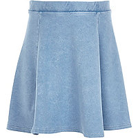 Girls blue denim skater skirt