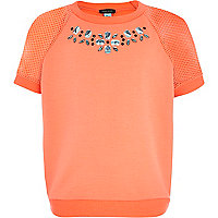 Girls coral gem mesh sweatshirt top