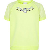 Girls lime green gem mesh sweatshirt top