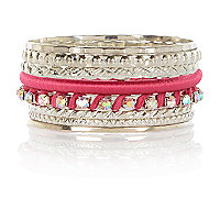 Girls silver metal and pink bangle pack