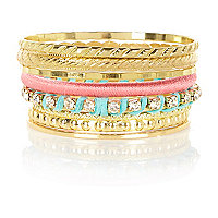 Girls yellow metal bangle pack