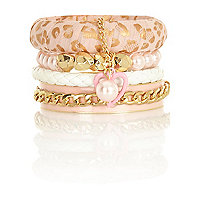 Girls pink leopard bangle pack