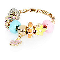 Girls yellow moveable flower charm bracelet