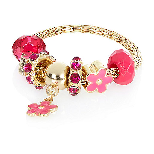 Girls pink moveable flower charm bracelet