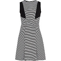 Girls black stripe fit and flare dress