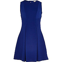 Girls blue rib fit and flare dress