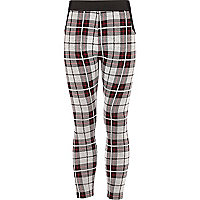 Girls cream and black tartan ski leggings