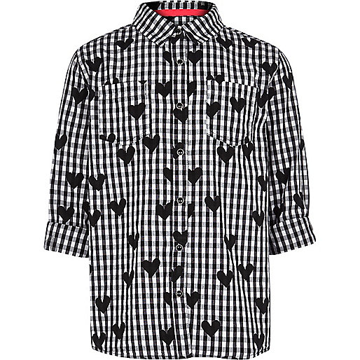 Girls black check and heart shirt