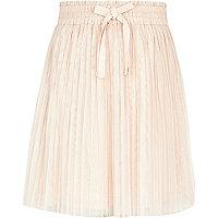 Girls beige chiffon pleat skirt