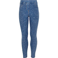 Girls blue acid wash leggings